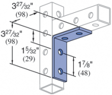 P9324 - 90° 4 Hole, Fitting (Telestrut)