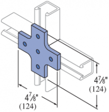 F20P/V-2518, F20P/V-2818(grooved) - 5 Hole Cross, Flat Plate Fiberglass Fitting