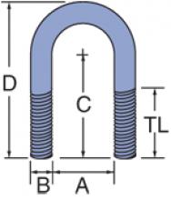 FUB-050 thru FUB-600 - Fiberglass Non-Metallic U-Bolts w/Hex Nuts